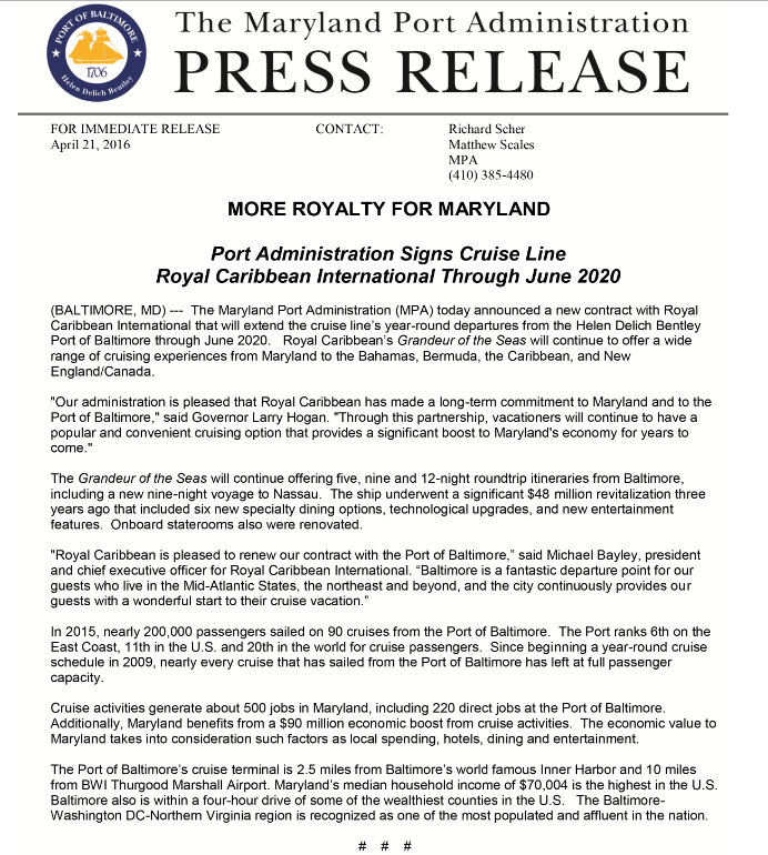Poert Administration Signs Cruise Line Royal Caribbean International Through June 2020